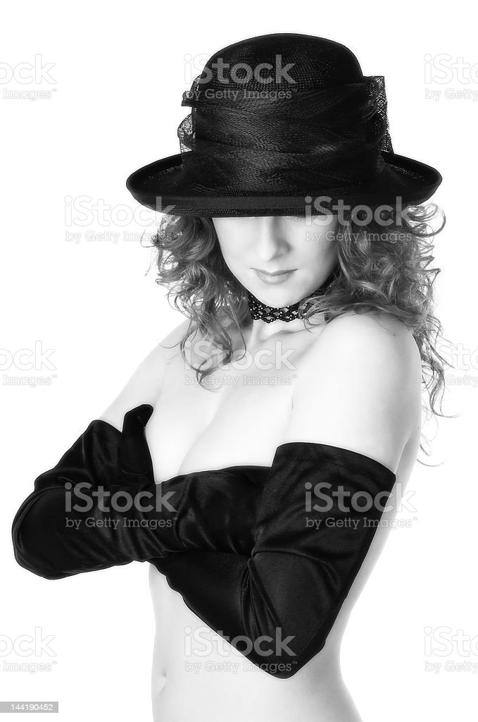 Lady in hat stock photo