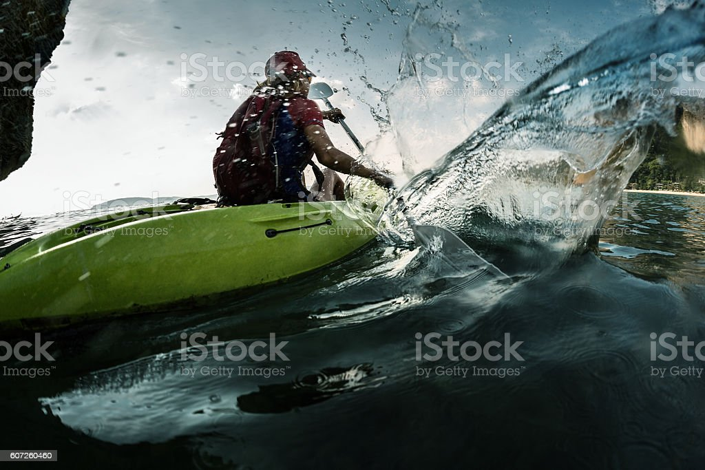 Lady in kayak stock photo