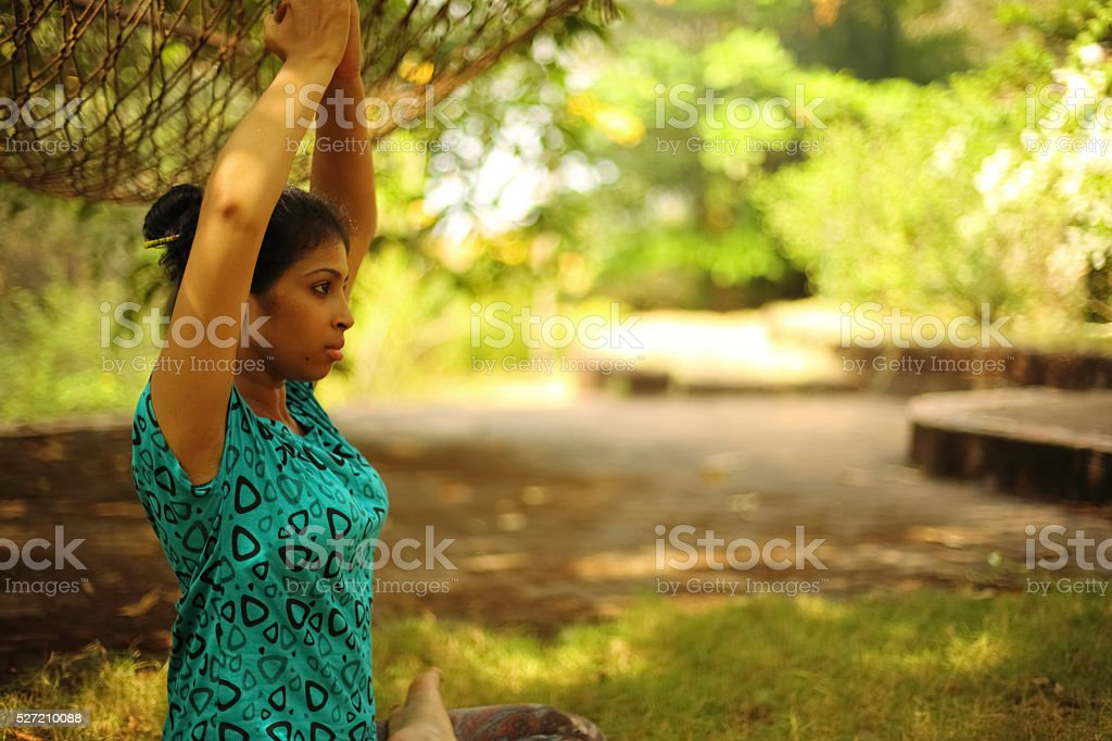 Lady in Meditation stock photo
