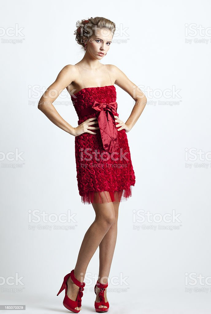 Lady in Red Rose Cocktail Dress royalty-free stock photo