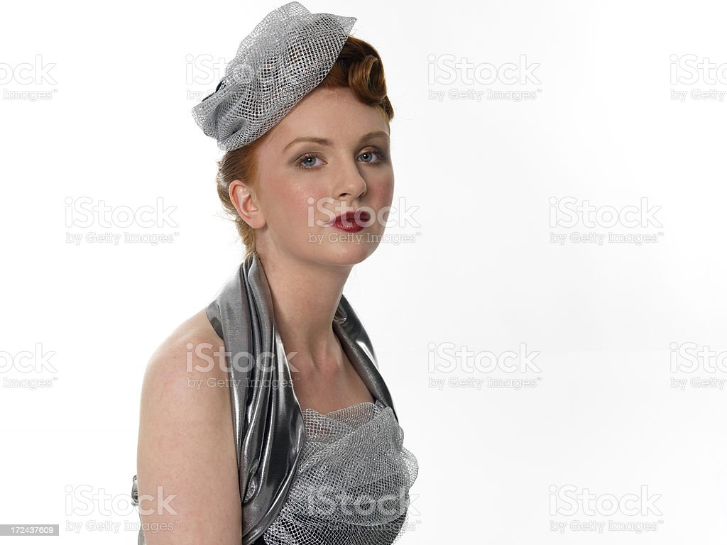 lady in silver royalty-free stock photo