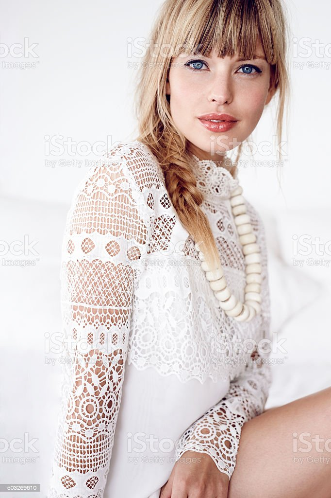 Lady in white lace stock photo
