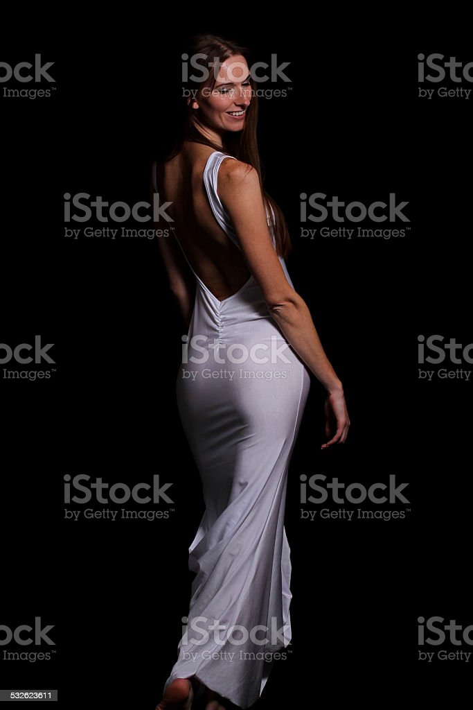 Lady in white stock photo