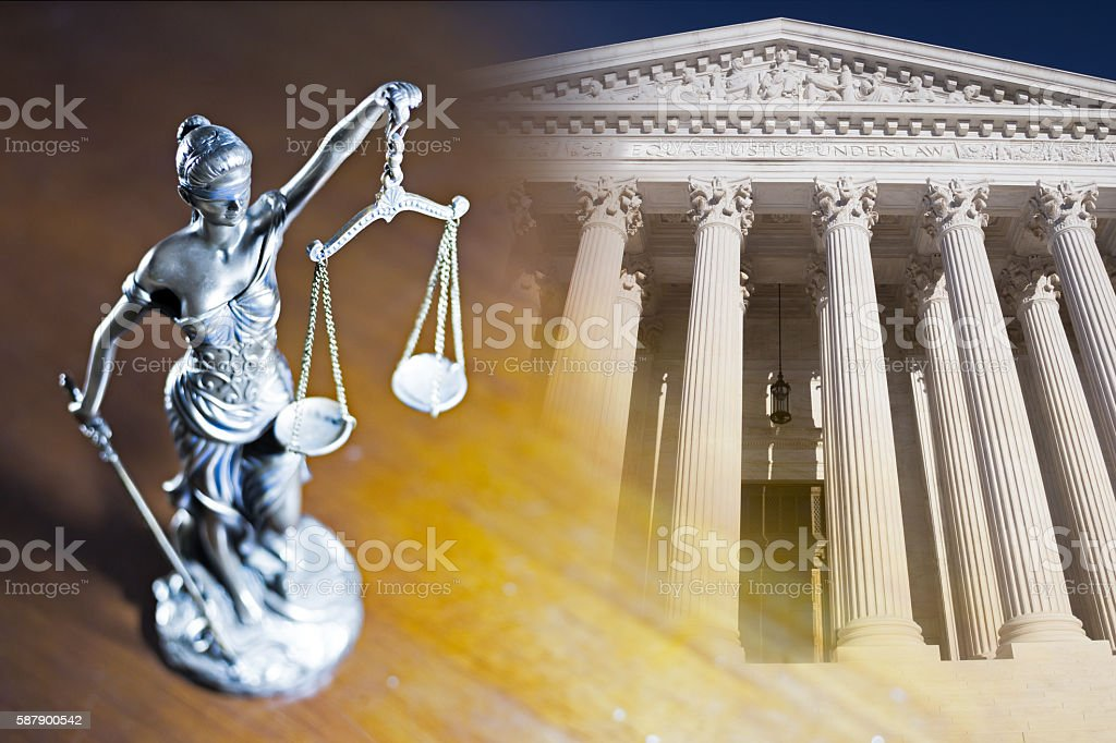 Lady Justice and Supreme Court stock photo