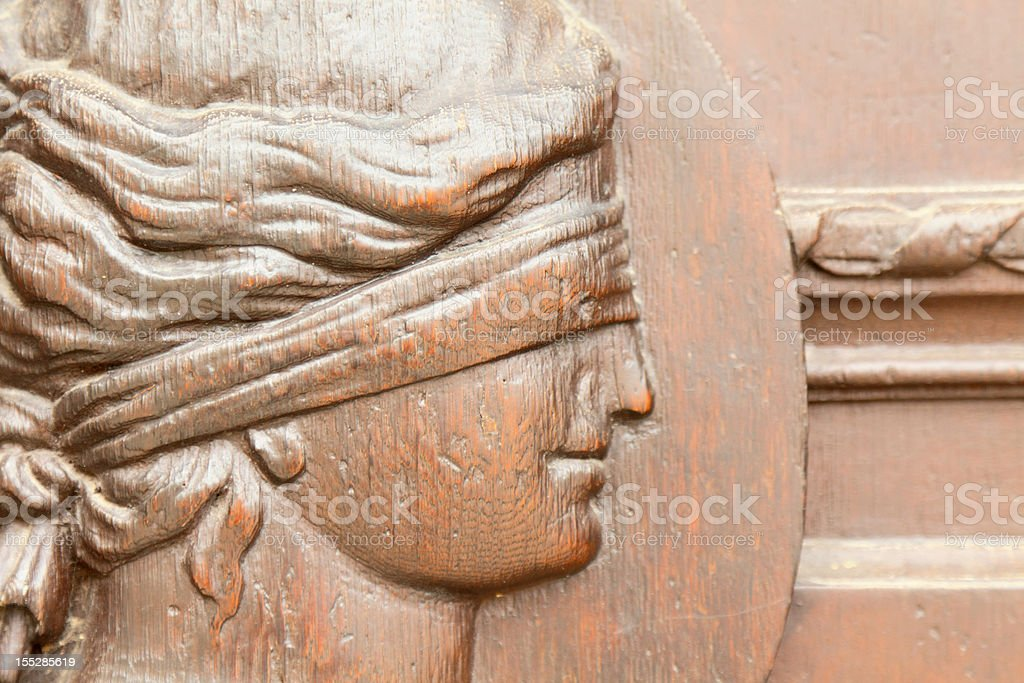 Lady Justice at the historic town hall entrance in Gera stock photo