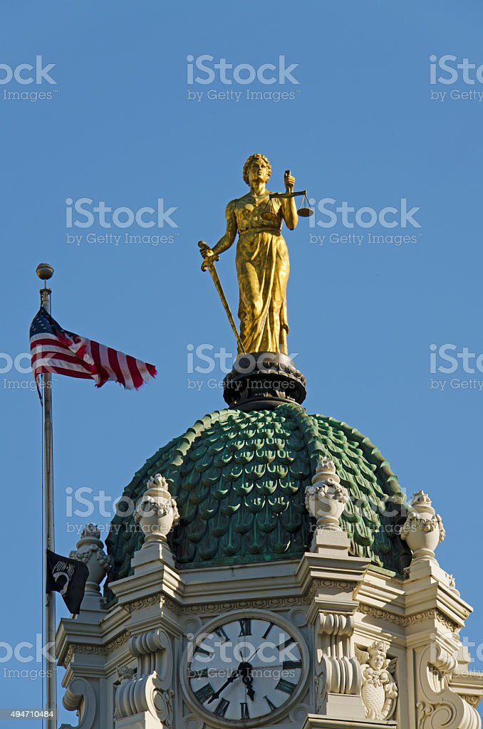 Lady Justice atop the cupola of Brooklyn Borough Hall stock photo