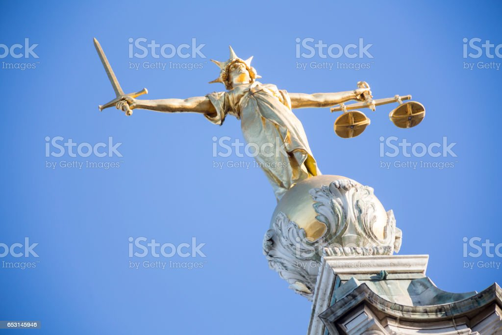 Lady Justice on top of Old Bailey stock photo