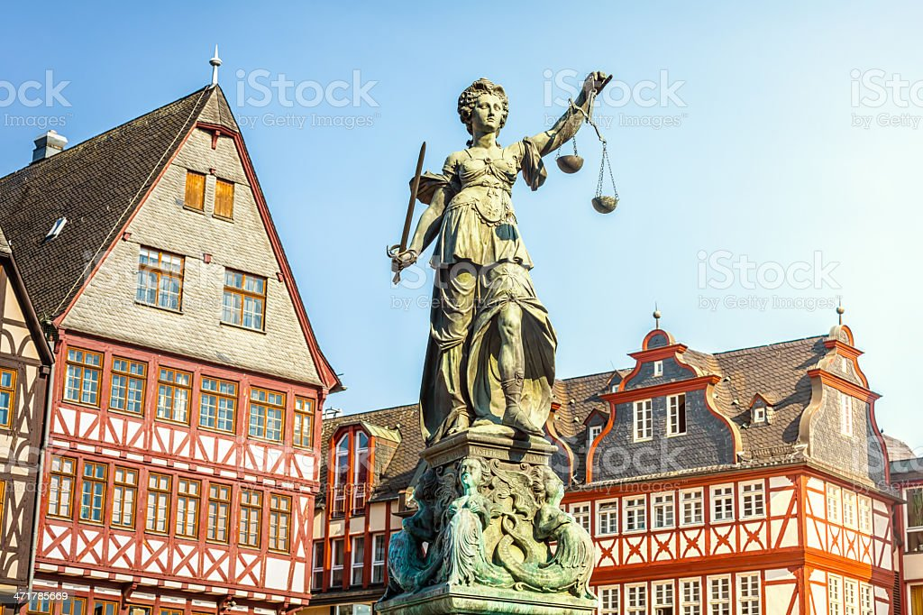 Lady Justice, Römerplatz in Frankfurt royalty-free stock photo