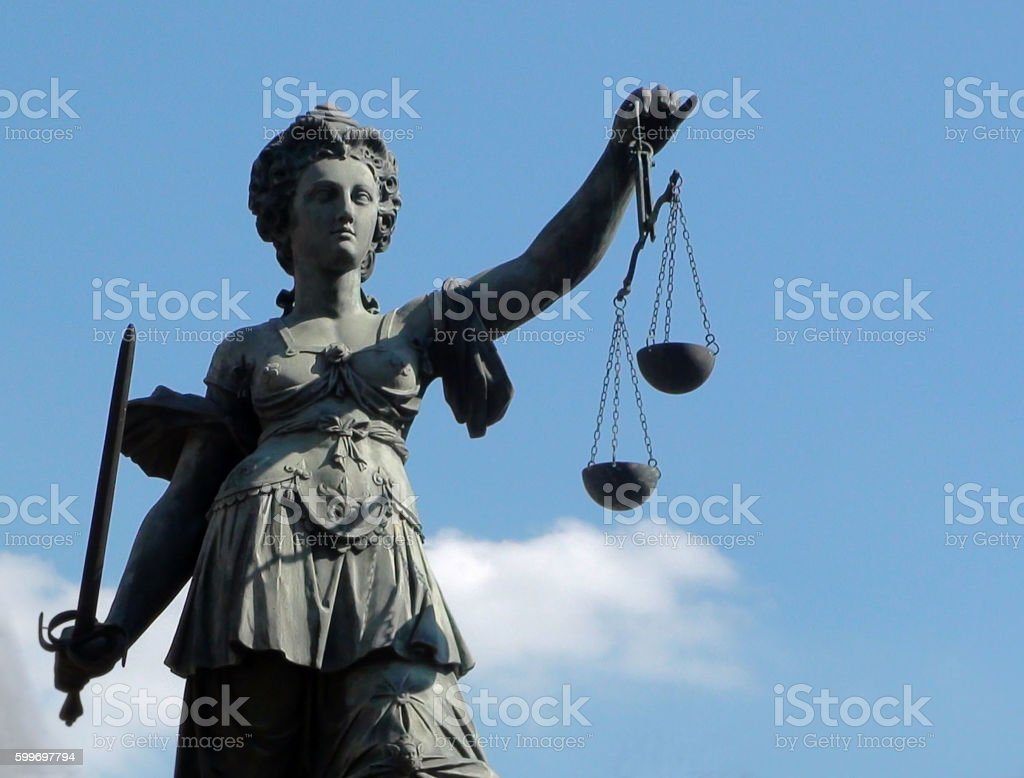 Lady Justice Sculpture In Frankfurt Germany Western Europe stock photo