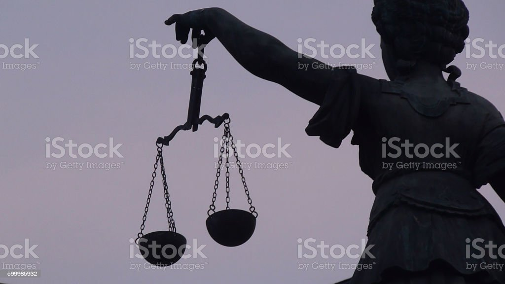 Lady Justice Side View In Frankfurt stock photo