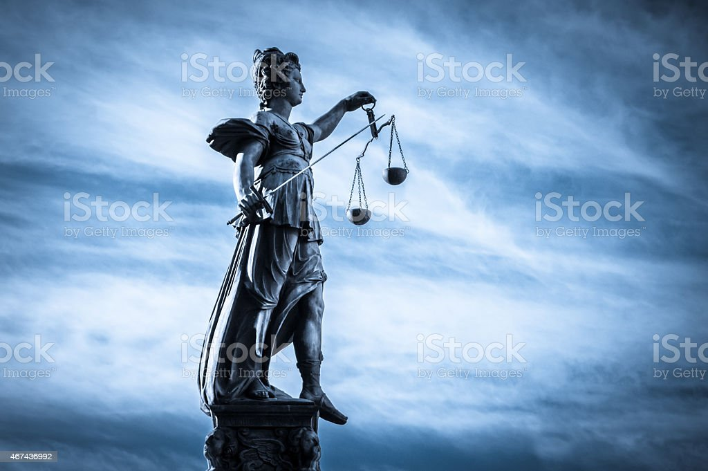 Lady justice statue in Frankfurt city, Germany stock photo
