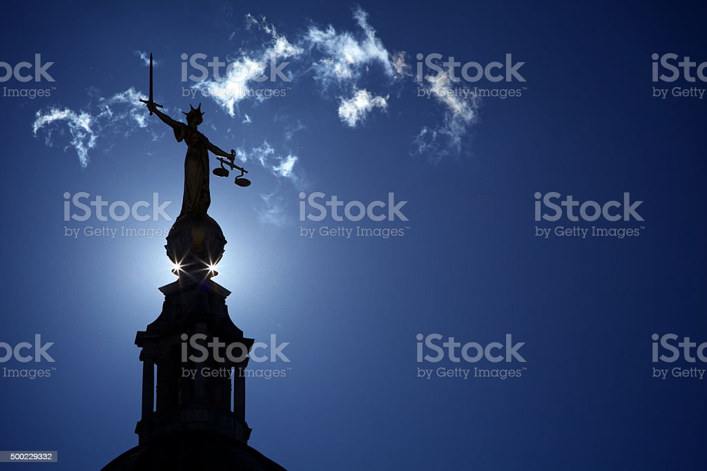 Lady Justice Statue Old Bailey stock photo