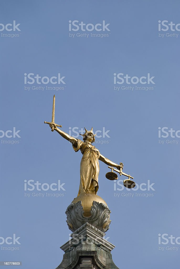 Lady Justice, the Old Bailey, London stock photo