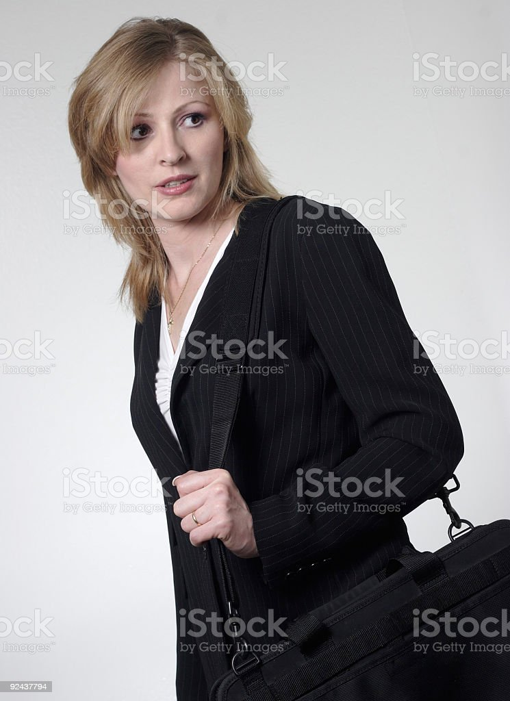 lady lawyer holding briefcase stock photo