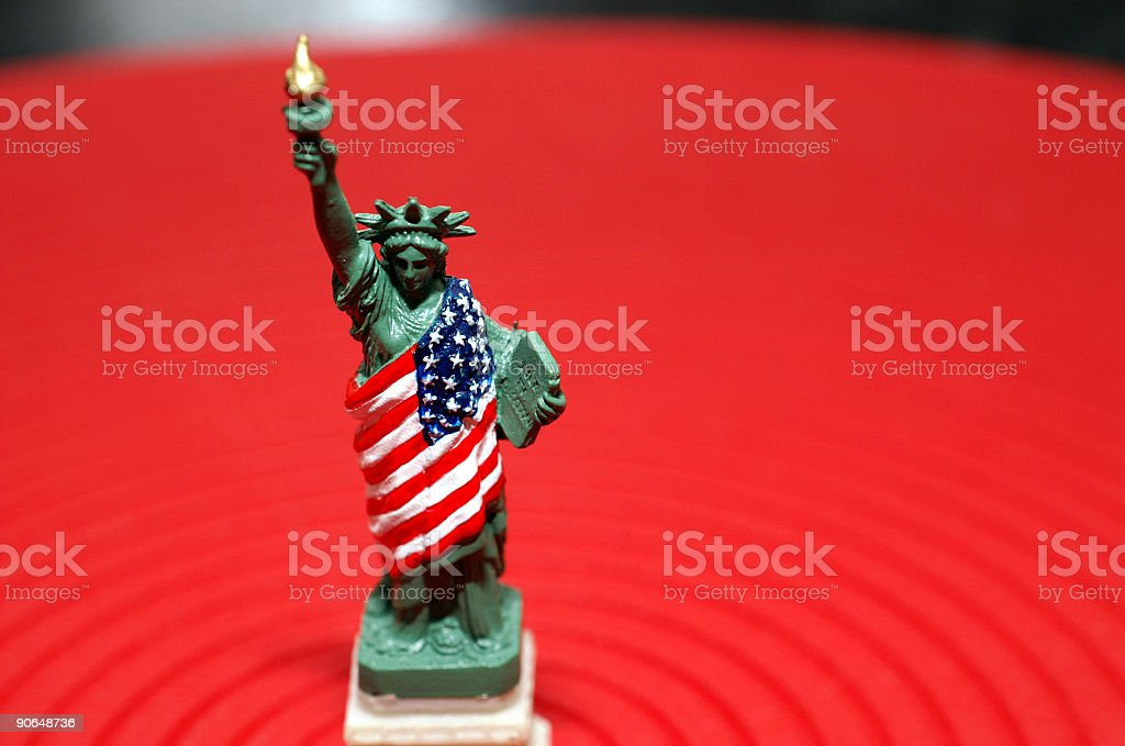 Lady Liberty on Red stock photo