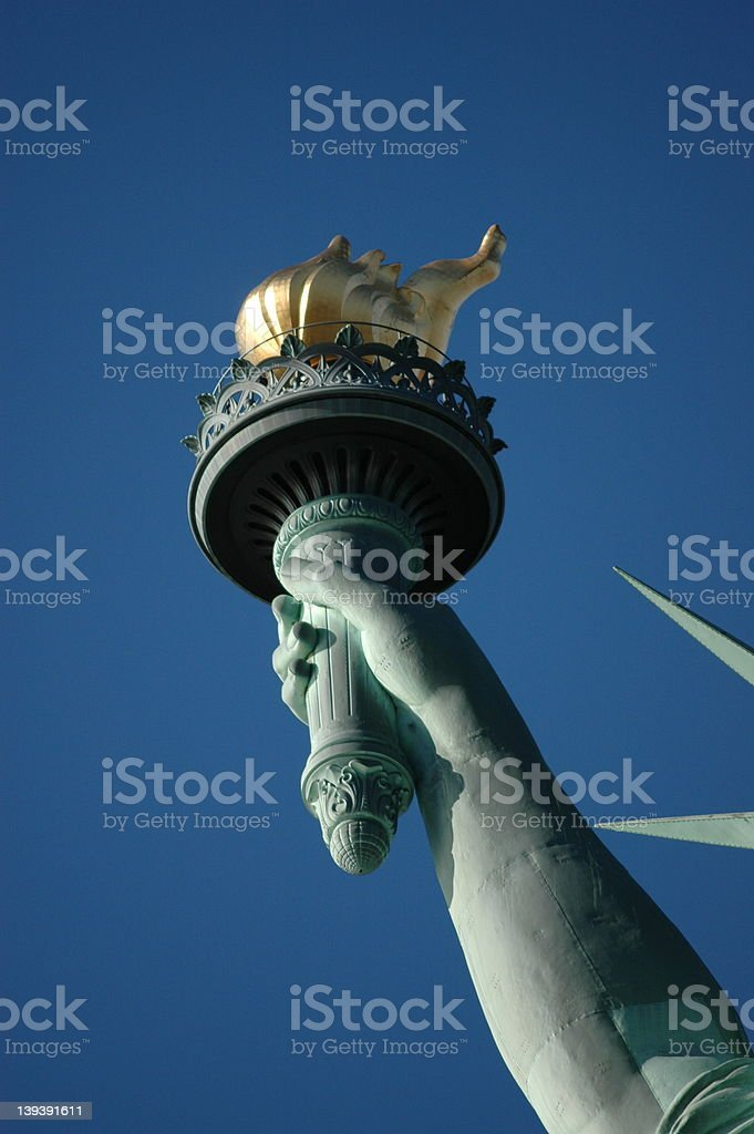 Lady Liberty's Torch-up close and personal royalty-free stock photo