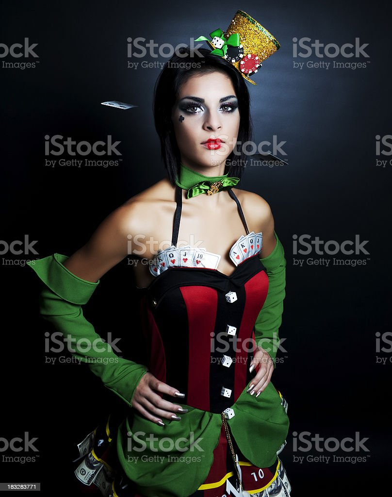 Lady Luck with Cards Falling royalty-free stock photo
