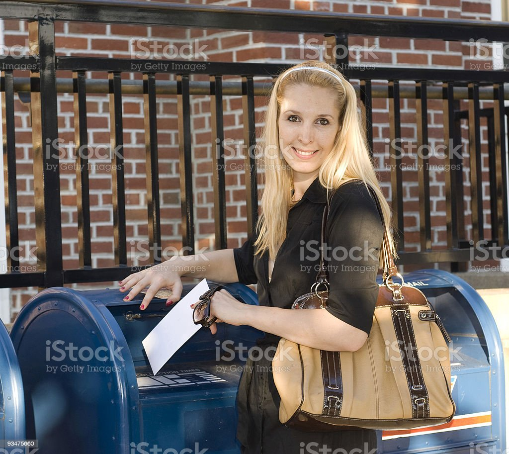 Lady mailing letter 2 87 royalty-free stock photo