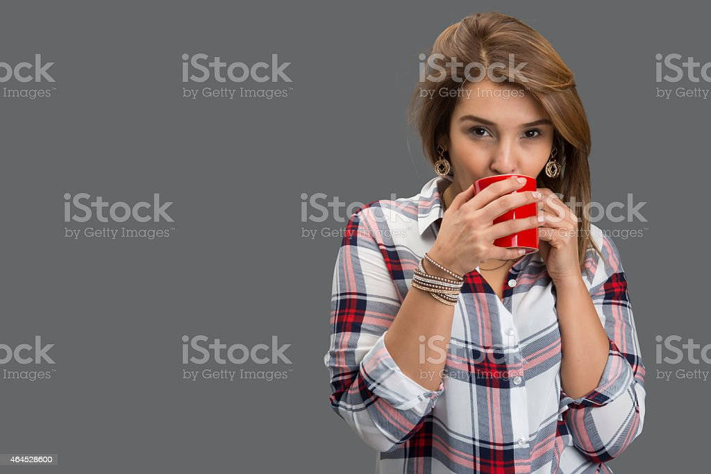 lady makes coffee time stock photo