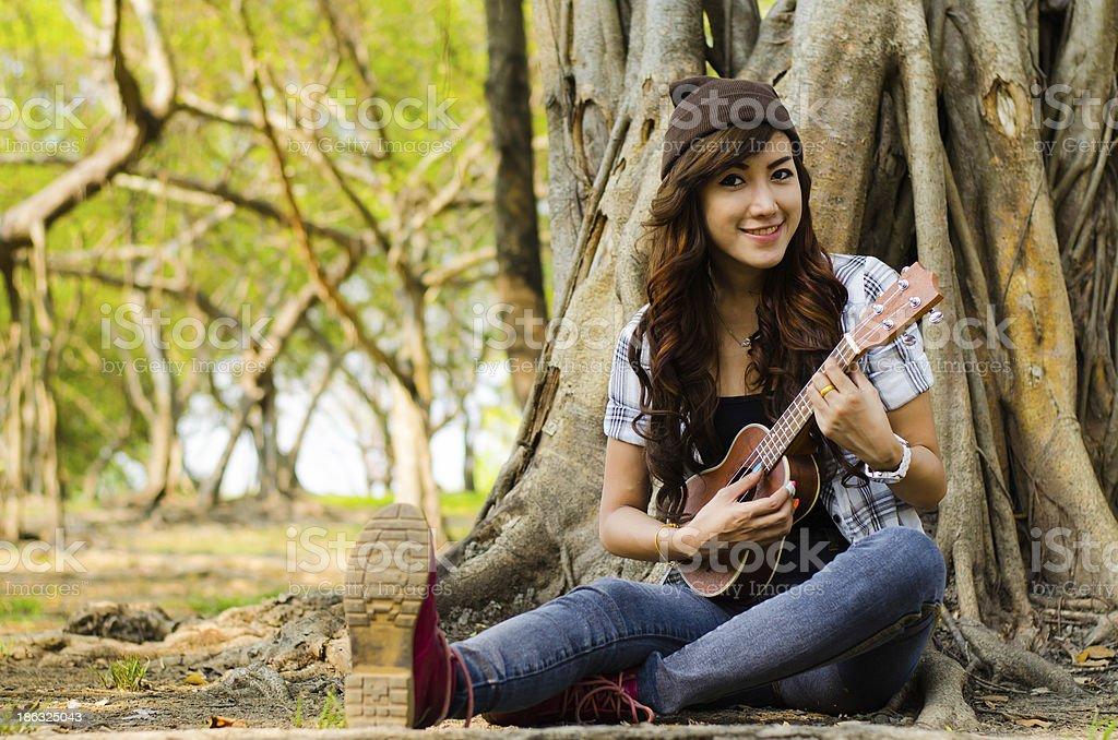 lady musician stock photo