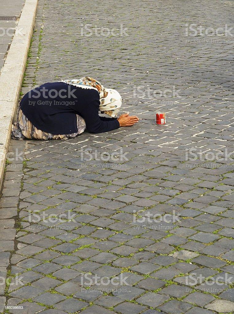 Lady Needing Charity royalty-free stock photo