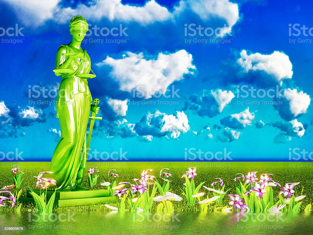 Lady of justice and flowers, 3d illustration stock photo