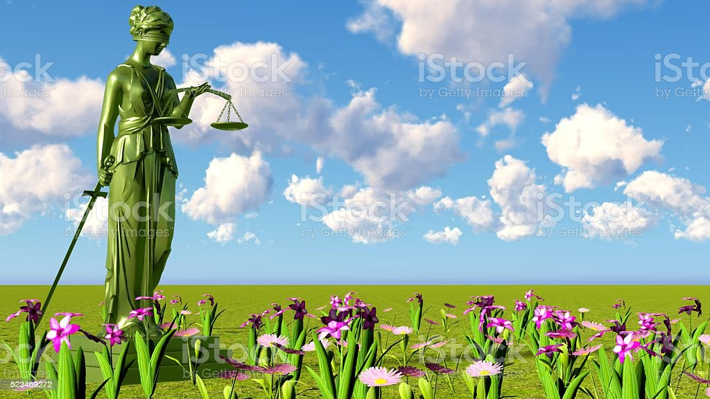 Lady of justice & flowers stock photo