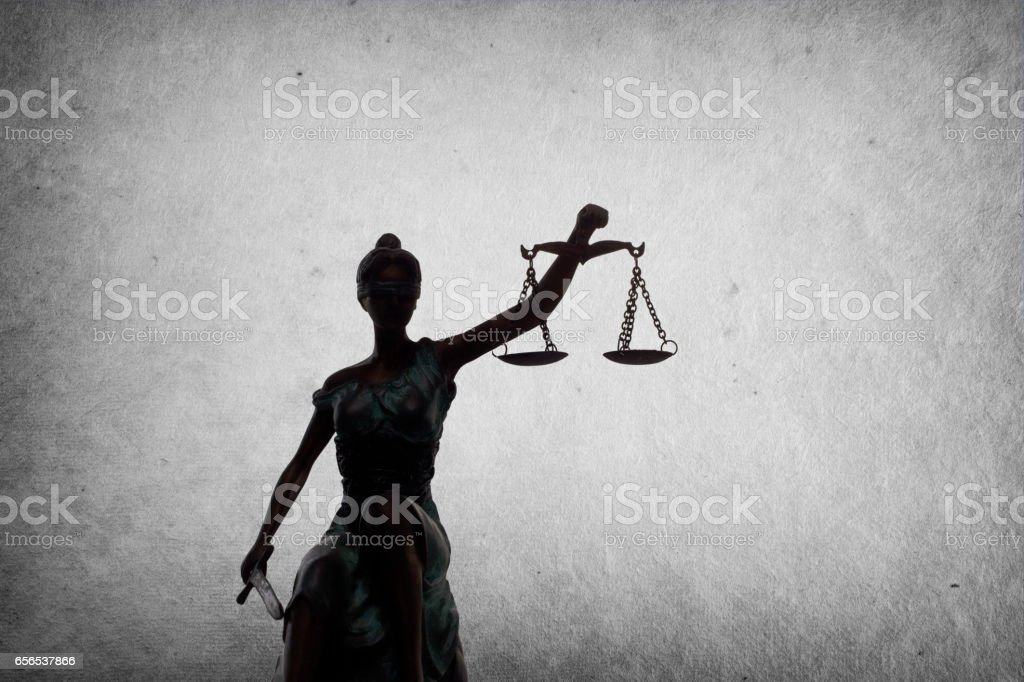 Lady of Justice on grunge background stock photo