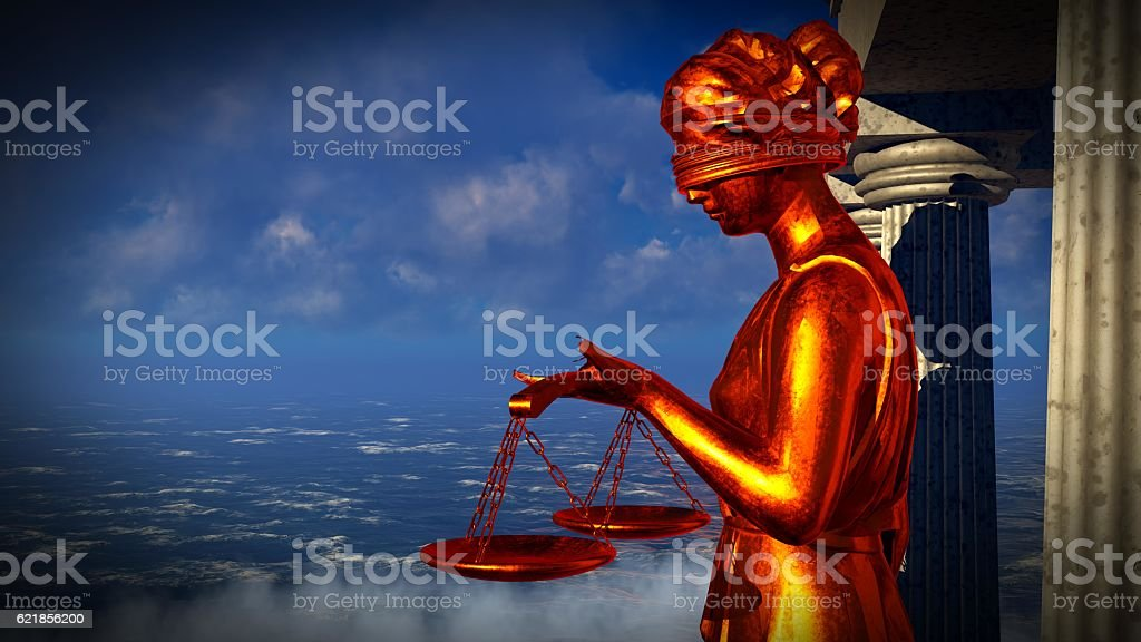 Lady of Justice statue in front  courthouse 3d rendering stock photo