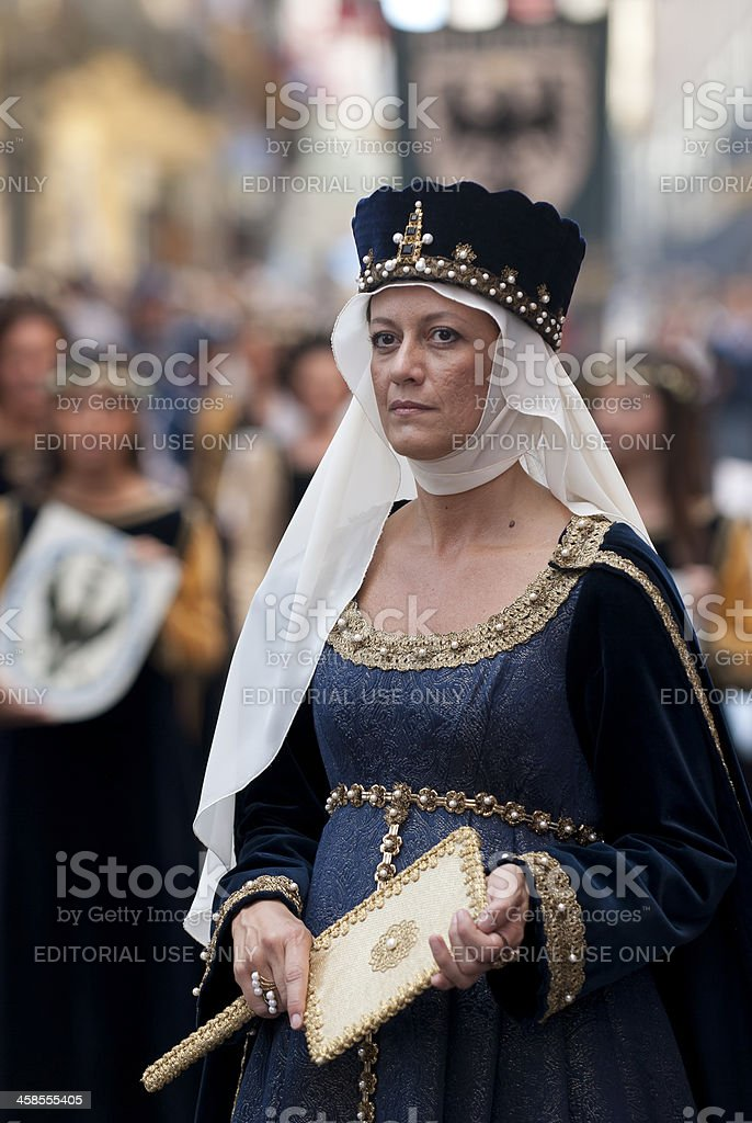 Lady of  Middle Ages, in the historic parade. stock photo