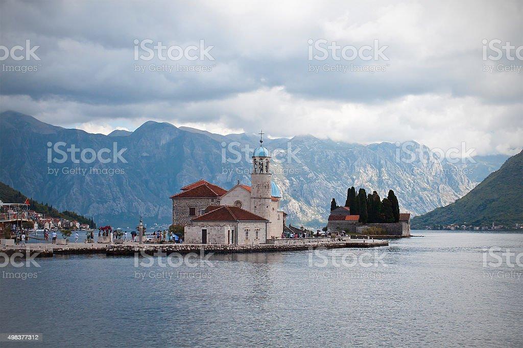 Lady of the Rocks, Island Monastery, Bay of Kotor, Montenegro stock photo