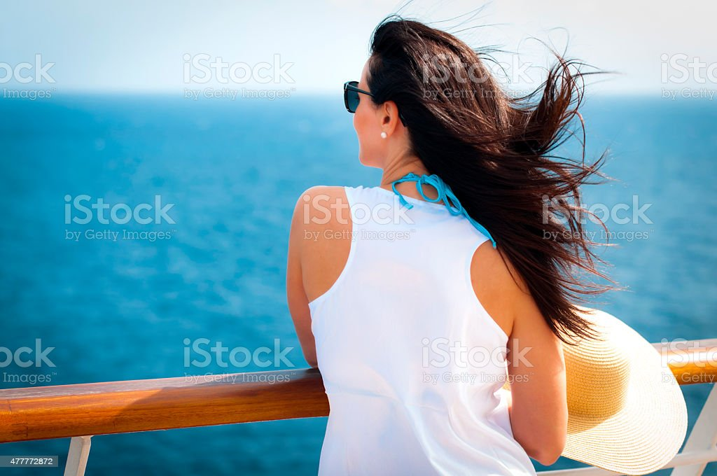 Lady on a cruise stock photo