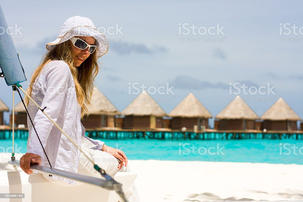 Lady on a white yacht royalty-free stock photo