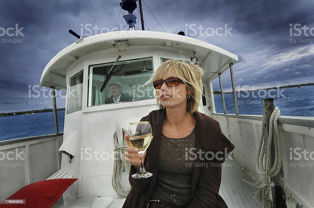 Lady on Boat royalty-free stock photo