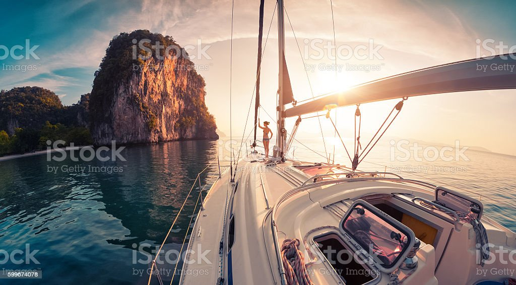 Lady on the yacht stock photo