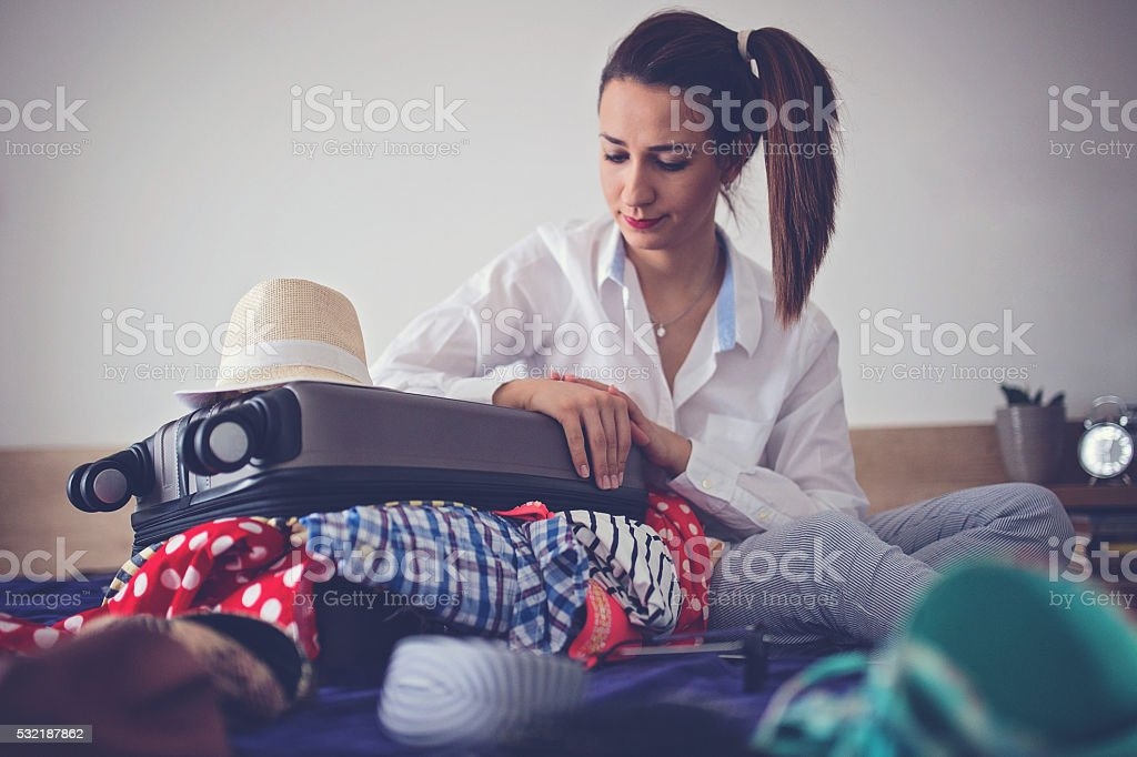 Lady out of solutions stock photo