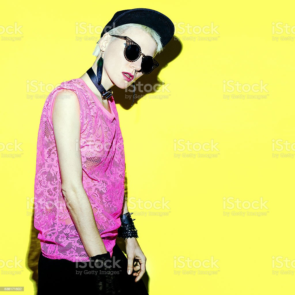 Lady party in fashion accessories. dance style stock photo