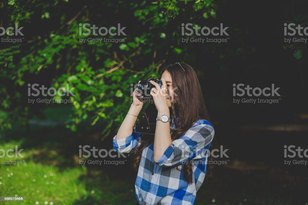Lady photographer stock photo