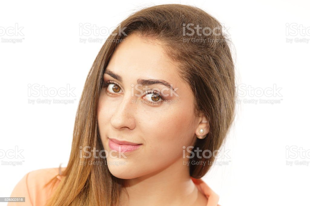Lady Portrait Hair Falling on her Side stock photo