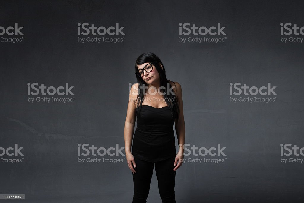 lady sadness with nerd glasses stock photo