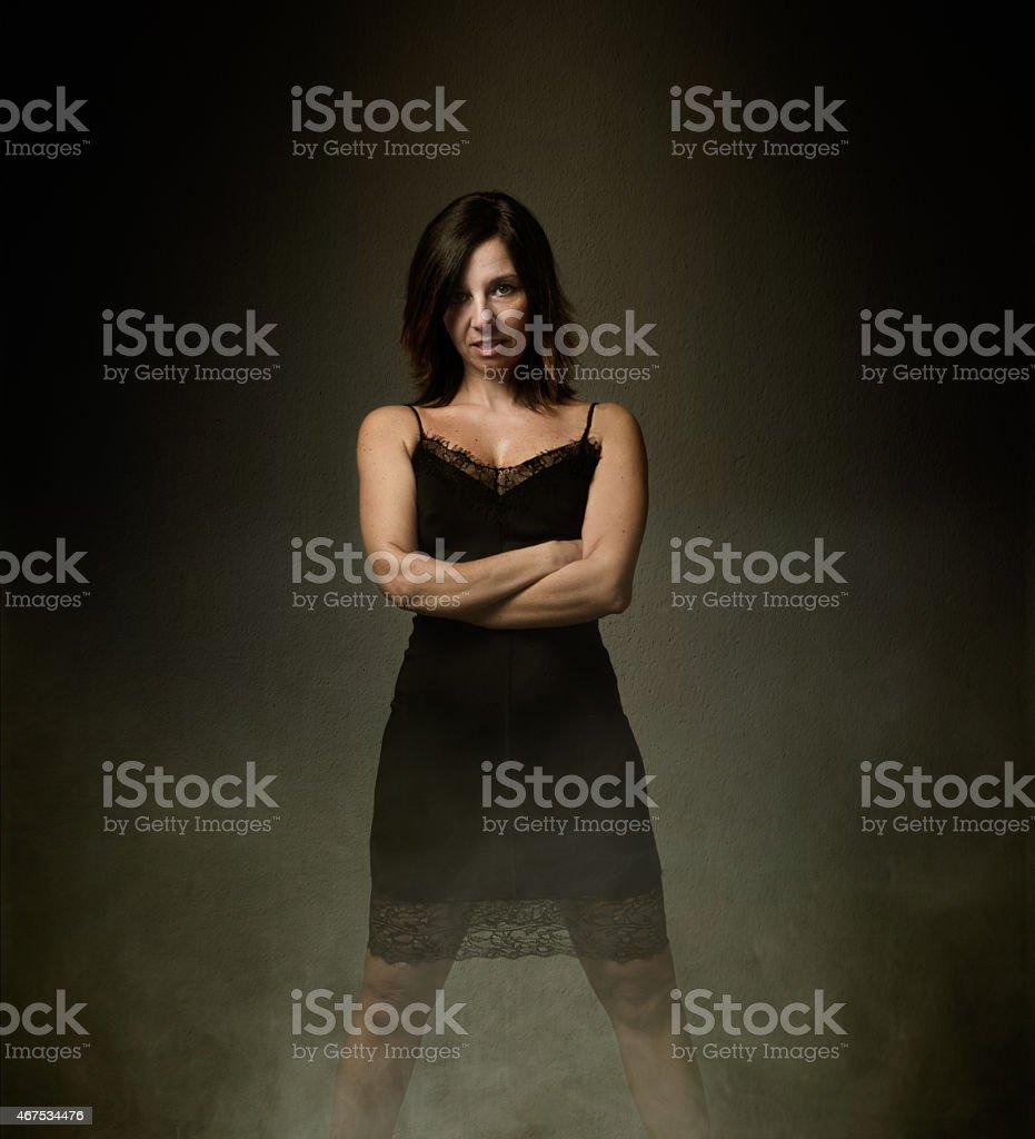 lady smile in black short dress stock photo