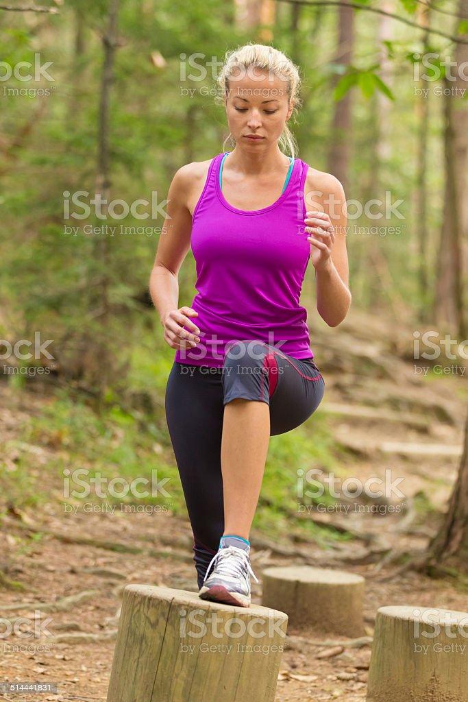 Lady training outdoors. stock photo