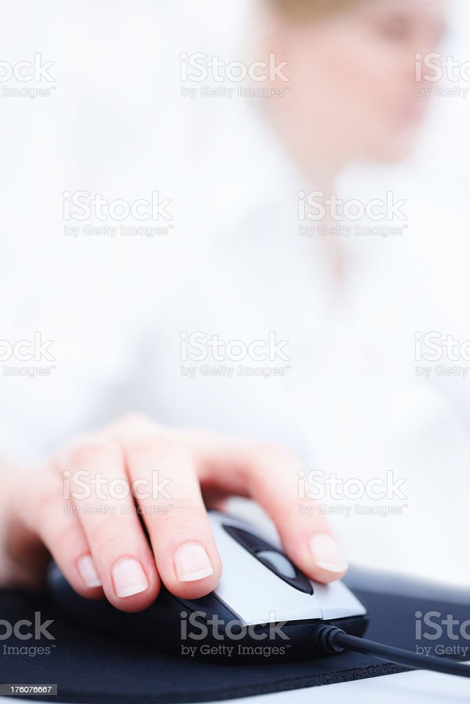 Lady using a mouse stock photo