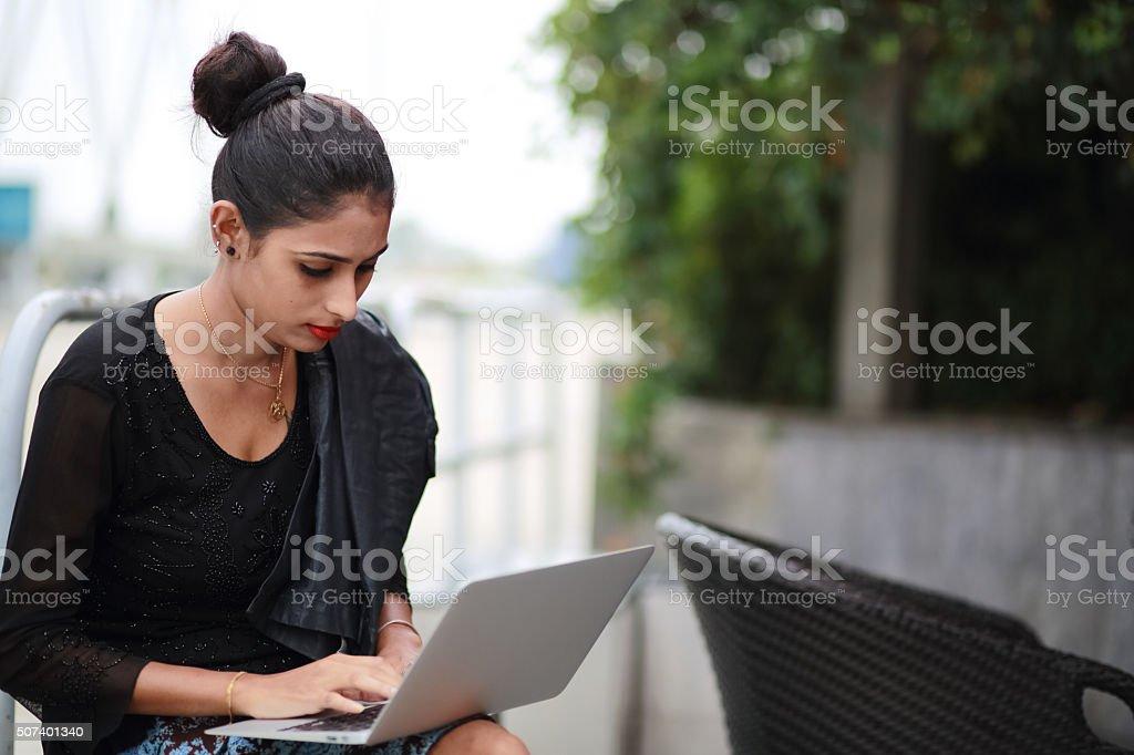 Lady Using Laptop stock photo