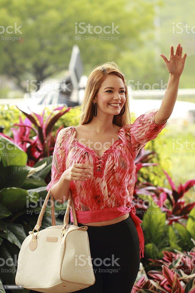 Lady Waving Saying Hi royalty-free stock photo
