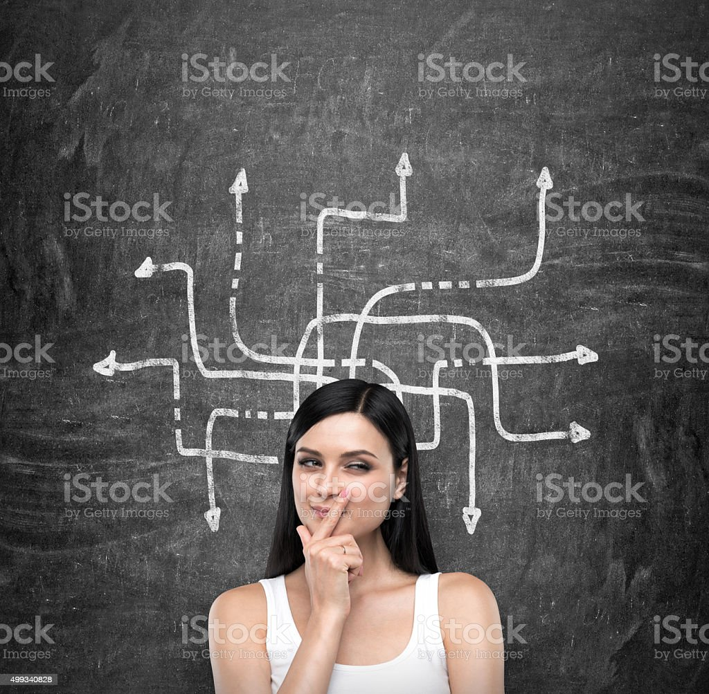 lady who is trying to find out solution stock photo