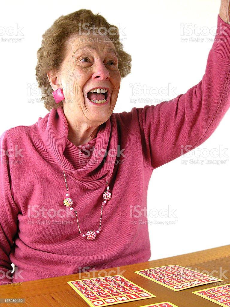 Lady Wins Bingo stock photo