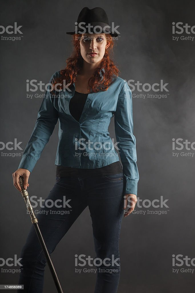 Lady with a stick royalty-free stock photo