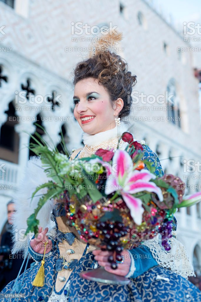 Lady with Bouquet Venice Carnival 2013 St Mark's Square Italy royalty-free stock photo