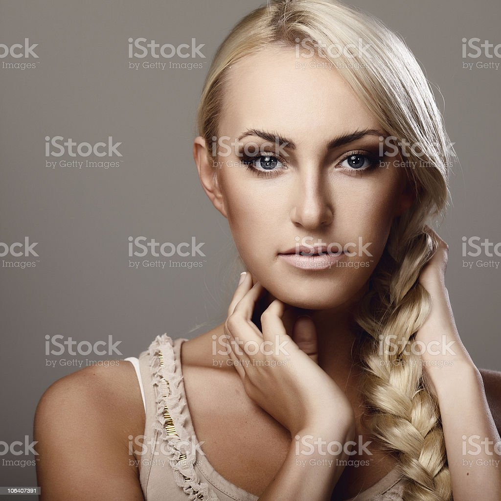 Lady with braid royalty-free stock photo